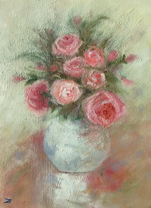 'Roses'- Oil on wood,18x24 cm