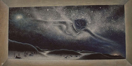 'Milky Way v.2' - Oilcolors on panel of wood and jute, 116 x 55 cm116 x 55 cm
