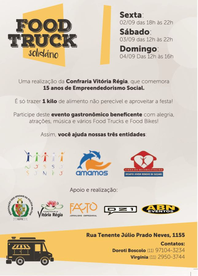 1ª edição do Food Truck Solidário acontece no AOPM em São Paulo
