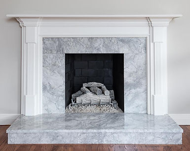 Superwhite quartzite fireplace