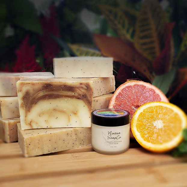 Noctua Soap Co Rejuvenation Soap and Night Cream Basil Essential Oil Grapefruit Essential Oil Tangerine Essential Oil Spearmint Essential Oil