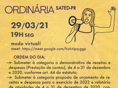 Assembleia Geral Ordinária de Prestação de Contas ocorrerá nesta segunda-feira dia 29/03/21