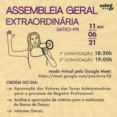 Assembleia Geral Extraordinária do SATED PR ocorrerá nesta sexta-feira 11/06!