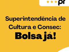 Superintendência de Cultura e Consec: É Bolsa Já!