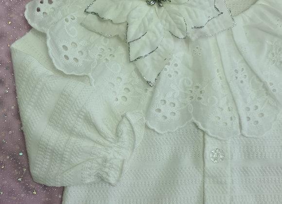 White Collar Cardigan - 3 - 6 months