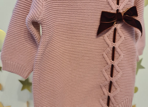 Knitted bow romper