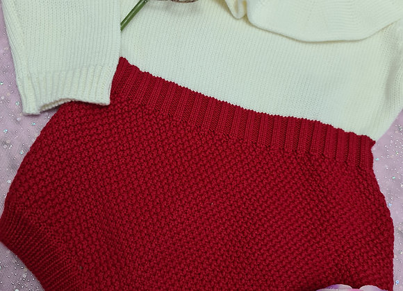 Red knitted romper