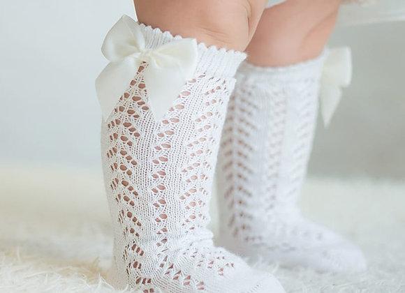 Bow Knee High Socks - 6-12 Months