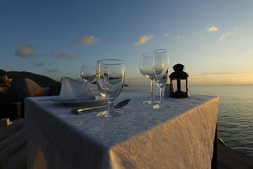 Fancy dinner in a restaurant or the beach