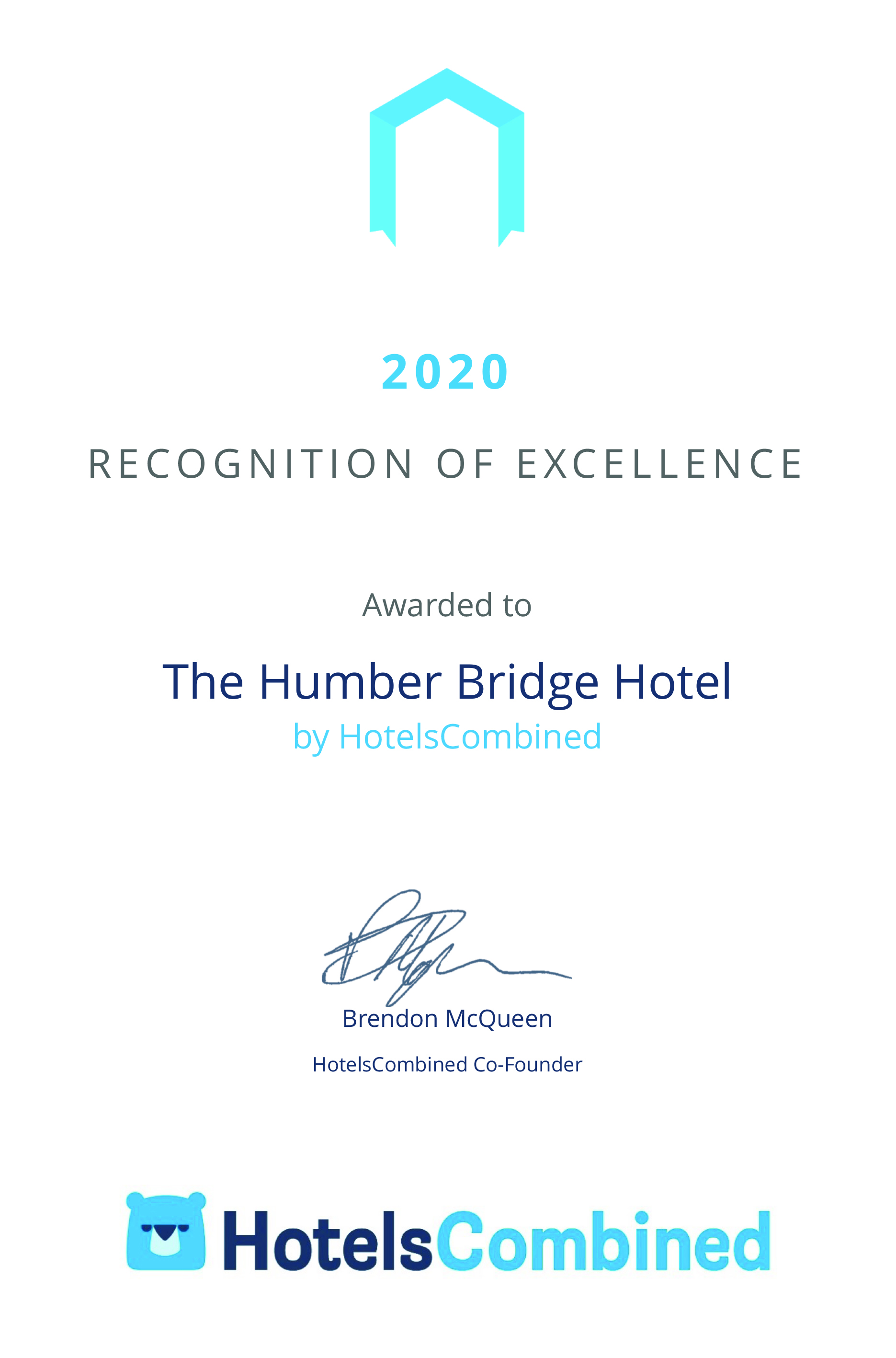 Certificate The Humber Bridge Hotel