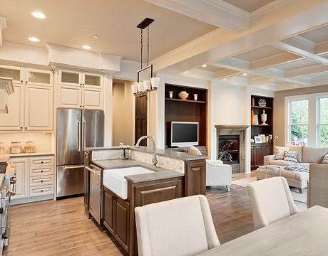 Beautiful living room with hardwood floo