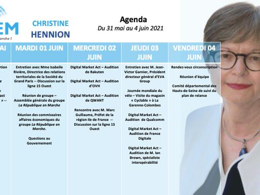 Mon agenda du 31 mai au 4 juin
