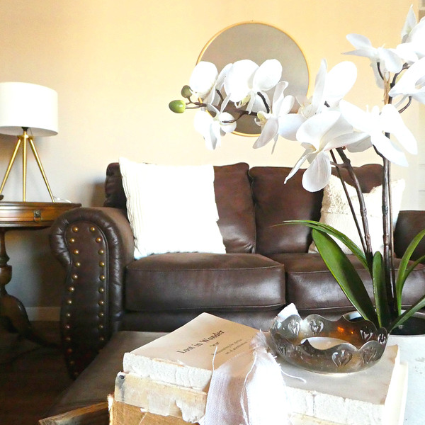 An example of a room refresh, using the homeowner's furniture. New lamps, mirror, pillows, and plants made the room look bright and airy.