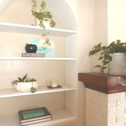 Close-up of styled shelves