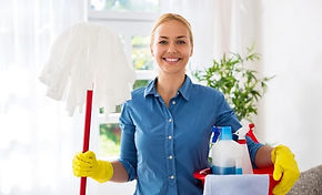Cleaner-Woman-With-Mop-And-Cleaning-Supp