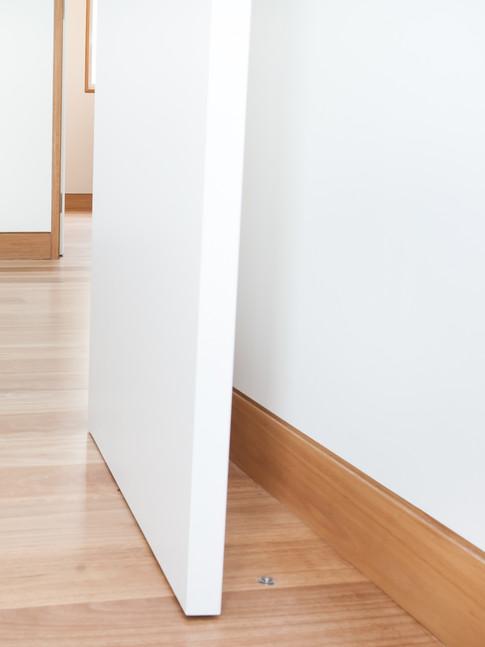 Installed in bedroom wood floorboards