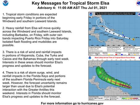 Tropical Storm Elsa Briefing #2 July 1, 2021