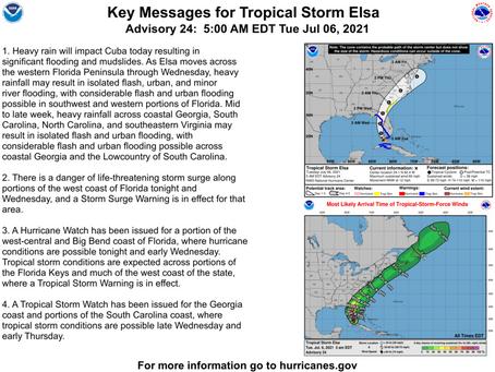 Tropical Storm Elsa Briefing #7 July 6, 2921