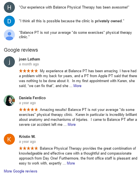Testimonials for Balance Physical Therapy, simply the best, best physical therapy in Issaquah, staff that cares