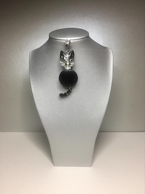 Kätzlianhänger mit Achat und Glasperlen
