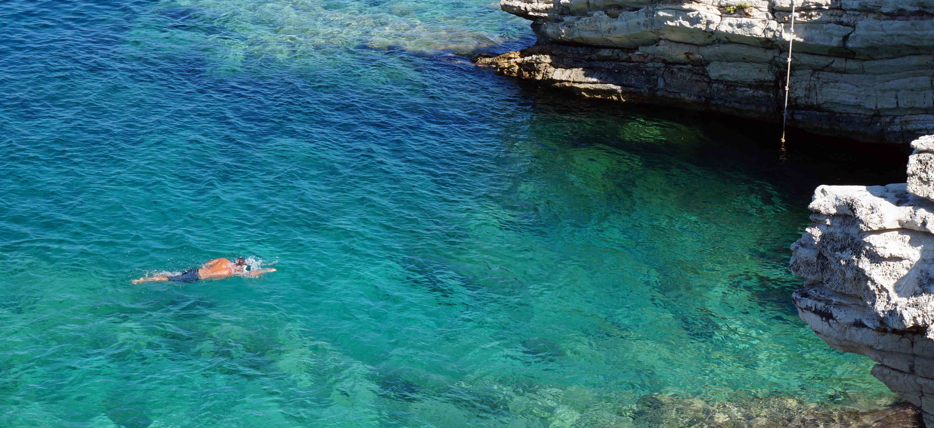 Swimming in the crystal clear waters