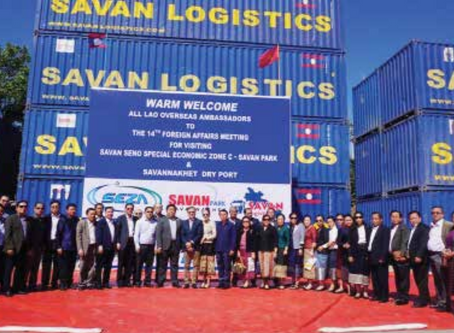 Lao overseas ambassadors visit Savan Park and Savannakhet Dry Port