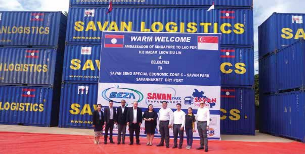 The Ambassador of the Republic of Singapore to Laos, H.E. Mdm Leow Siu Lin (centre), is welcomed by authorities at Savan Seno Special Economic Zone C – Savan Park and Savannakhet Dry Port in Savannakhet province on November 19.