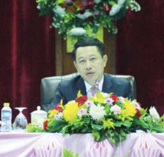 Minister of Foreign Affairs, Mr Saleumxay Kommasith chairs the meeting in Vientiane yesterday.