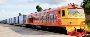 The inaugural freight train from Thailand arrives at Thanaleng railway station container yard in Vientiane last week.