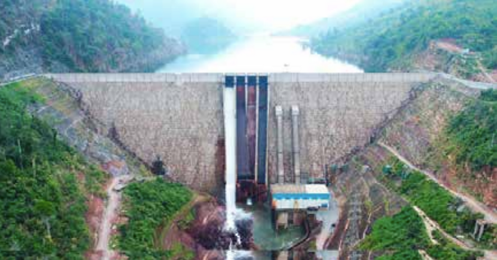 Nam Ngiep 1 Hydropower Project's main dam and main powerhouse. --Photo provided by NNP1