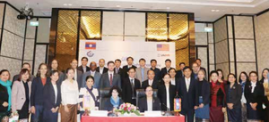 U.S. Ambassador to Laos, Ms Rena Bitter (front left), Minister of Industry and Commerce, Mrs Khemmani Pholsena (front right), and related sectors at Laos Business Environment Project ceremony on Thursday in Vientiane.