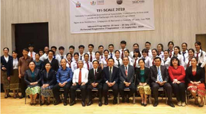 Teachers of NUOL gather for a sendoff of Lao students taking part in the Temasek Foundation International Specialists' Community Action and Leadership Exchange Programme.