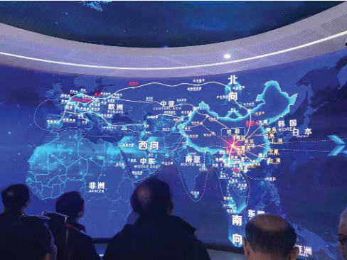 A huge screen shows the routes traversed by the Chengdu Railway Express.