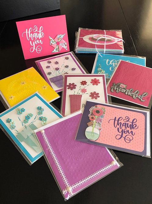 "Greeting Card  ""Thanks""  & ""Thank-you""   4 pc card set"
