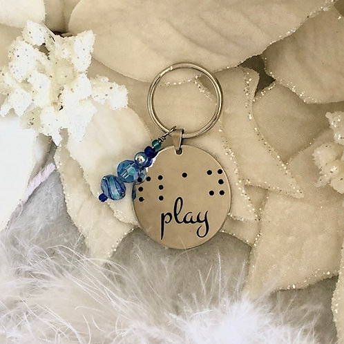 "Braille key chain/cane tag  ""play"""