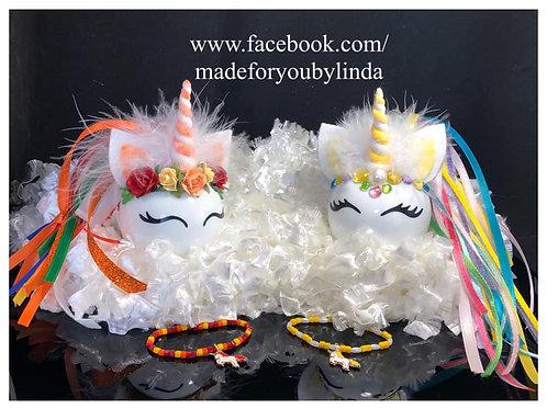 Personalized Unicorn Gift with matching girls bracelet