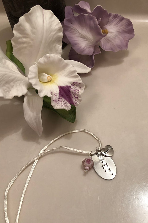 Braille 'grandma' Necklace with charm and customizable beads