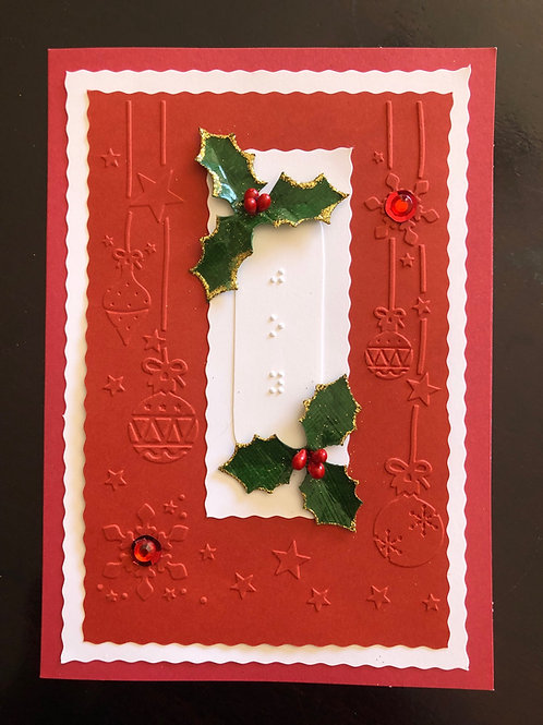 """""""joy""""  Braille Christmas Card  (Pack of 4)"""