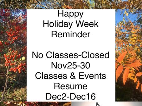 Reminder Holiday Closure