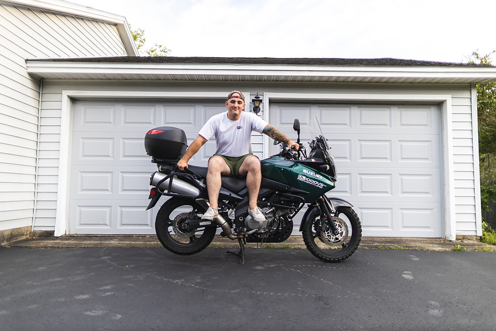 Mike Barr Photography on his 2008 Suzuki VStrom, shortly before leaving on his round the world motorcycle trip.