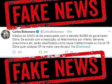 Notícias sobre supostas notificações de morte por Corona Vírus é Fake News