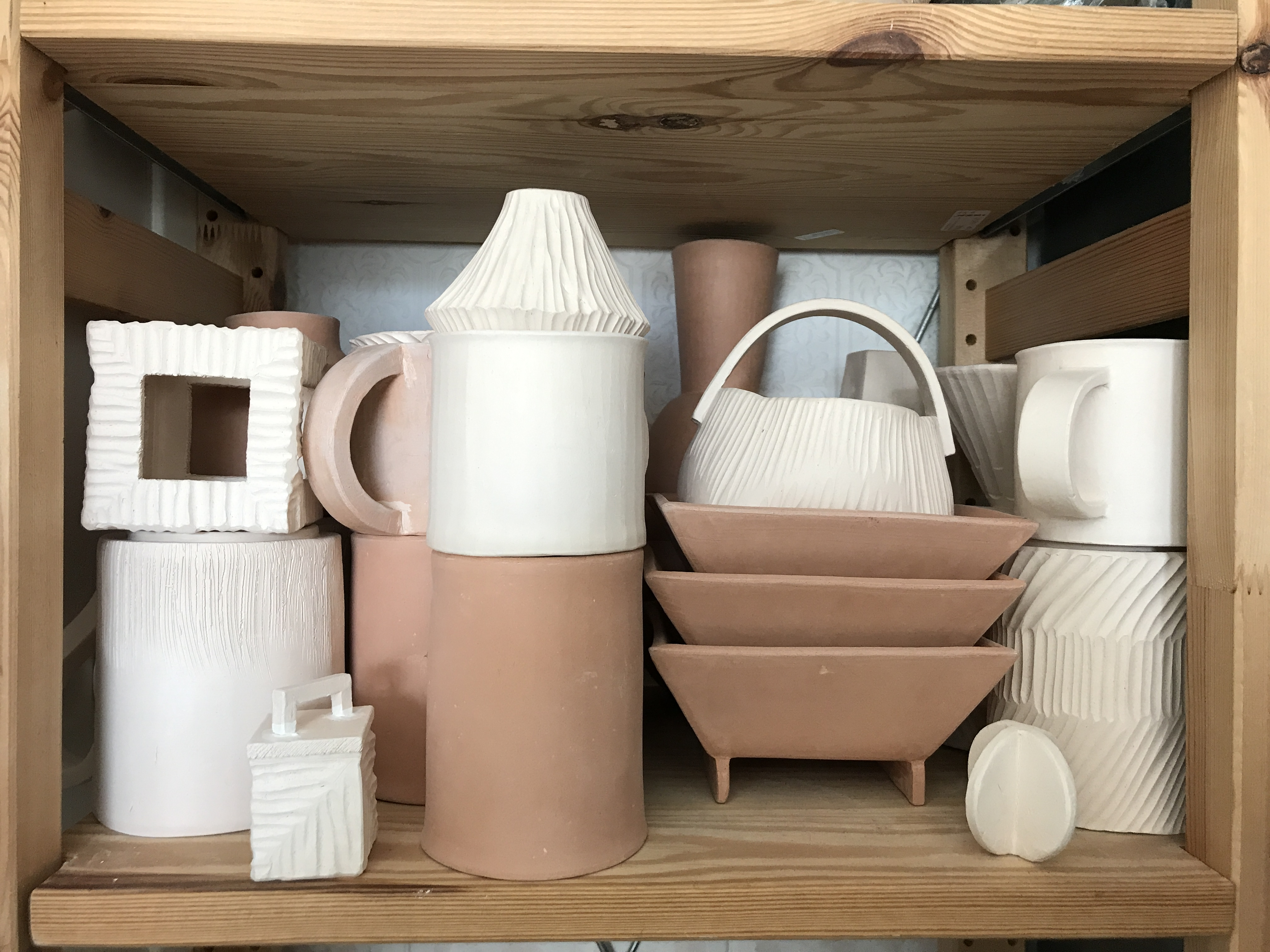 Bisque-ware awaiting glaze