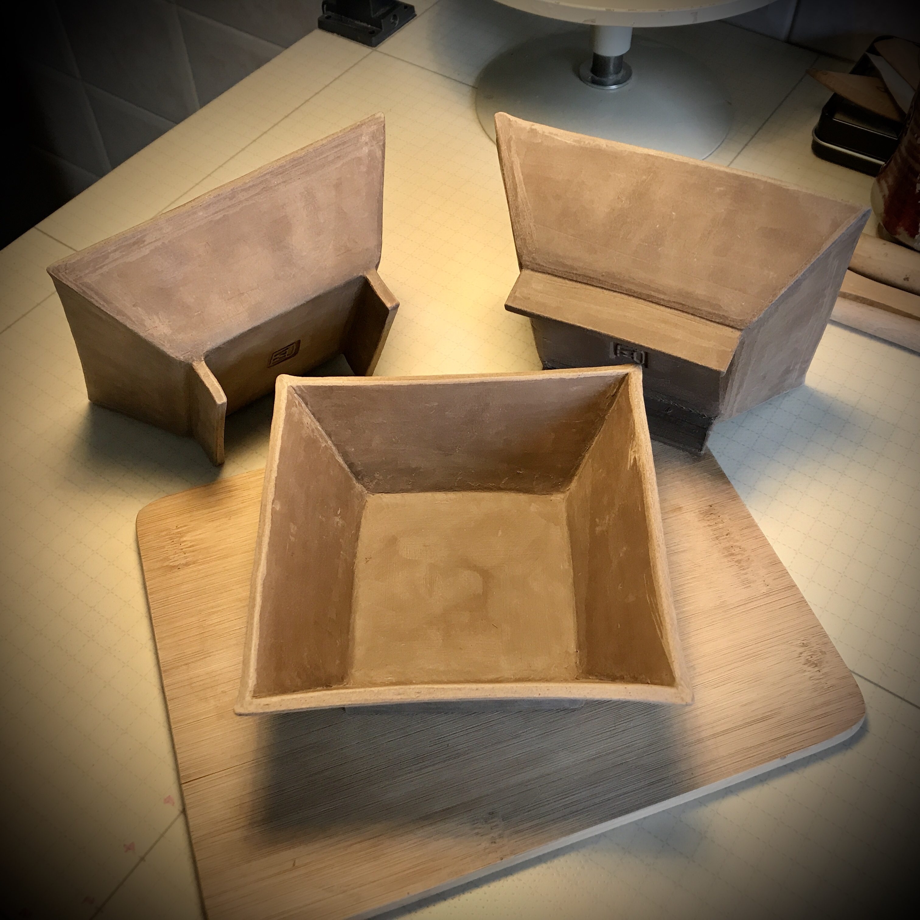 Plain square dishes...