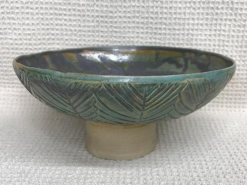 Abstract Leaf Pedestal Bowl