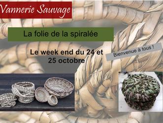 24 et 25 octobre, vannerie spiralée, 2 demis journées de création à partir de plantes sauvages.