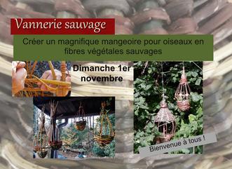 Dimanche 1 novembre, un atelier en vannerie sauvage pour préparer l'hiver: mangeoires pour oiseaux.