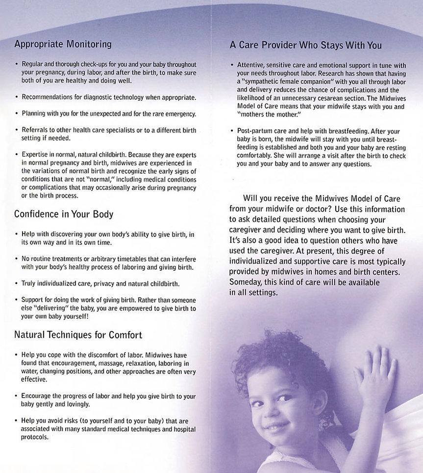 Midwifery Model of Care Brochure 3