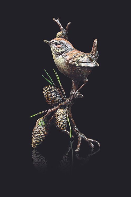 Wren with Pinecones by Keith Sherwin