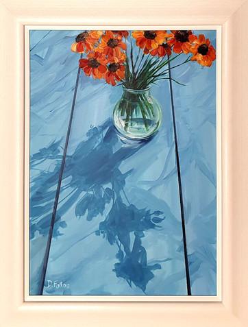 Orange Flowers on Blue Table