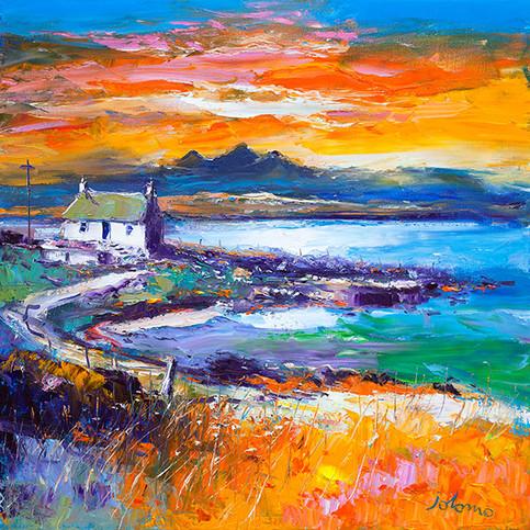 """""""A Jura Sunset from Port Nan Gallan, Keills"""" by John Lowrie Morrison"""